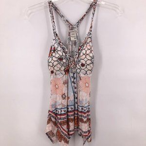 American Rag cream print beaded tank top